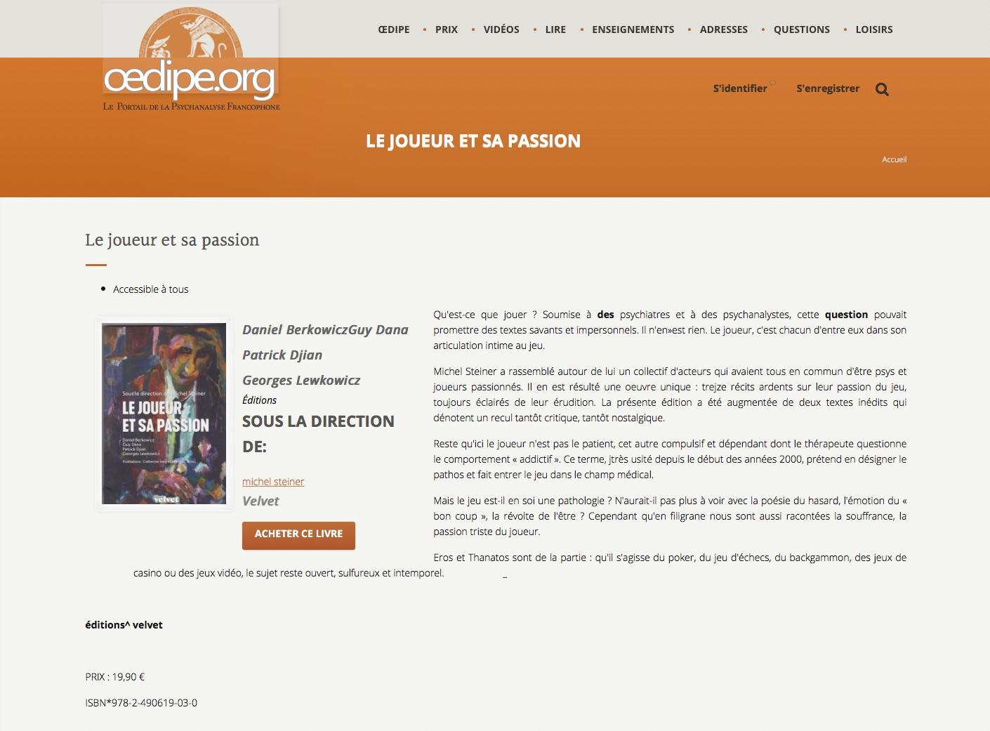 Le Joueur et sa passion sélectionné par le comité de lecture d'O